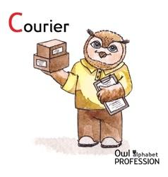 Alphabet professions Owl Letter C - Courier vector image vector image