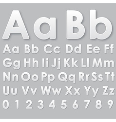 Alphabet pseudo 3d letters on a gray vector