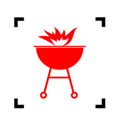 Barbecue with fire sign red icon inside vector