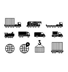 Black big transportation icon set vector
