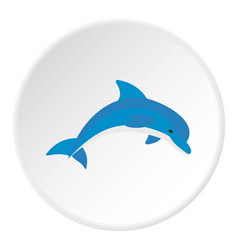 Blue dolphin icon circle vector