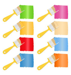 Brushes with paint vector image vector image