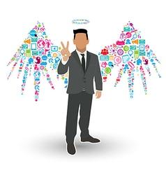 Businessman angel wings social network vector