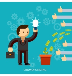 Businessman with a great idea being crowd funded vector