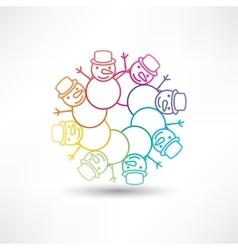 Circle of snowmen vector image vector image