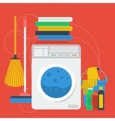 Cleaning items and washing machine vector
