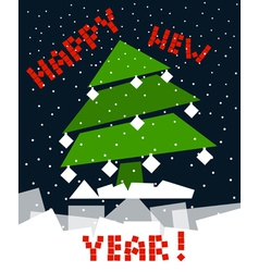 Cubic new year tree vector image
