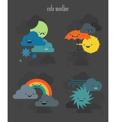 Cute weather characters collection set 2 vector