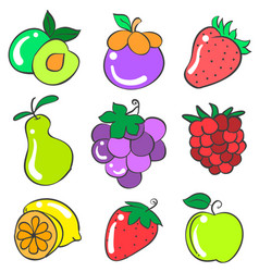 doodle of fruit various style collection vector image vector image