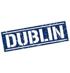 Dublin blue square stamp vector