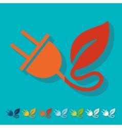 Flat design eco plug leaf vector