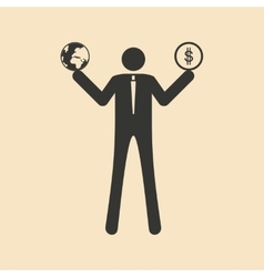 Flat in black white man holds earth and money vector