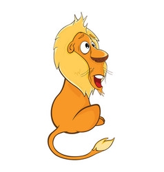 Funny yellow lion cartoon character vector