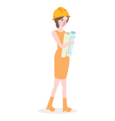Girl architect wearing yellow helmet female work vector