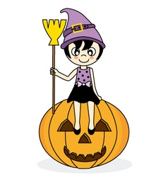 girl dressed as witch vector image