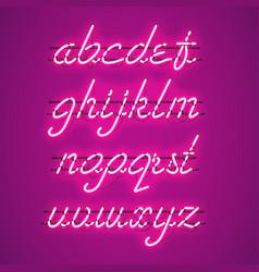 glowing purple neon lowercase script font vector image