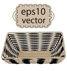 Gray wicker basket handmade vector