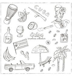 Hand drawn doodle Cuba travel set vector image vector image