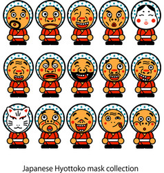 japanese hyottoko masks collection vector image