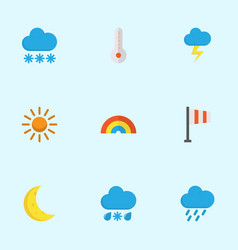 nature flat icons set collection of moon sun vector image vector image