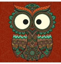 Ornamental owl on the patterned background vector image