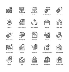 Real estate line icons set 6 vector