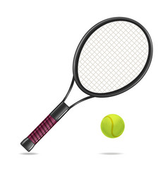 Realistic detailed tennis racket and ball vector