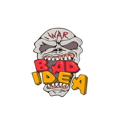 Skull war bad idea cartoon vector