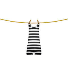 striped retro swimsuit hanging on rope vector image vector image
