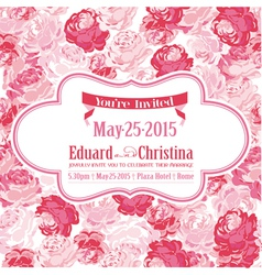 Wedding invitation card - with floral background vector