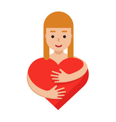 woman hugging the red heart romantic colorful vector image
