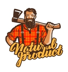 Woodcutter lumberjack logo joiner or vector