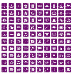 100 police icons set grunge purple vector