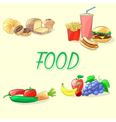 Colorful food  fast food vegetables fruits and vector