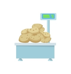 Tray with potatoes on store scales vector