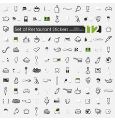 Set of restaurant stickers vector