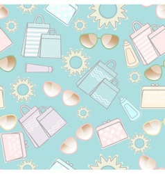 Summer pattern with sun sunglasses and bags vector image