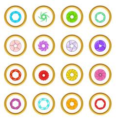 Photo diaphragm icons circle vector