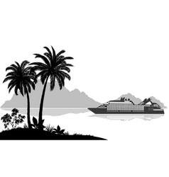 Landscape with ship palms and mountains vector
