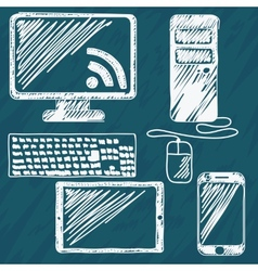 Digital devices hand drawn vector