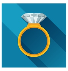 Ring with brilliant in flat design style vector