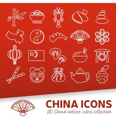 China outline icons vector