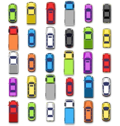 Multicolored car collection with shadow isolated vector