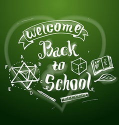 Welcome back to school background on chalkb vector