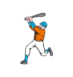 American baseball player batting homer cartoon vector