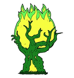 Comic cartoon spooky old tree vector