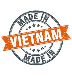 Vietnam orange grunge ribbon stamp on white vector