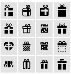 Black gift icon set vector