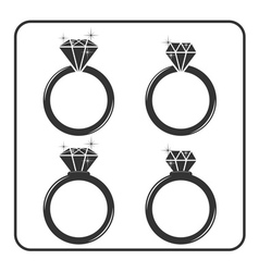 Diamond engagement ring icons set 5 vector image
