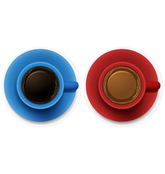 Aerial view of dark and milk coffee vector